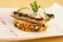 Croustillant de légumes provençaux à la purée de citron confit chèvre au miel pain toasté tapenade