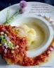 Espadon en confit de chorizo sur soupe de pommes de terre à l'huile de pistache