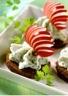 Fromage blanc et radis sur pumpernickel