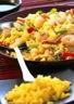 Nasigoreng au poulet crevettes et jambon