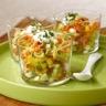 Pâtes cuisinées basilic et ail/tomate tartare de légumes et fromage blanc aux herbes