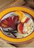 Rôti de canard crème au picodon polenta et poires au vin