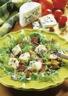 Salade de mesclun au foies de poulets avec ses petits croutons au Bresse Bleu