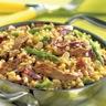 Veau sauté aux asperges avec son méli-mélo gourmand de céréales et légumes secs