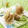 Verrine de Saint-Jacques lard fumé et pomme verte sauce gingembre