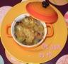 Cocotte d'endives et de radis noirs au jambon gratinée