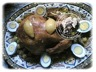 Poulet rôti farci (champignons et viande hachée) façon fête marocaine