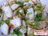 Salade de blanc de seiche, choux de bruxelles, limette et coriandre
