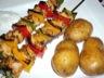 Brochettes de poulet aux 3 poivrons