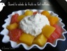 Salade de mangue et pamplemousse à la camomille et fromage à la crème battu