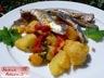 Salade tiède de pommes de terre, poivron, sardine et shiso