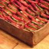 Tarte au sarrasin, caviar d'aubergines, courgettes et tomates