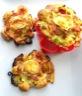 Tartelettes comme des fleurs aux poireaux, fromage de chèvre et jambon