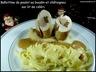 Ballottines de poulet farcies au boudin blanc aux morilles et châtaignes, nouilles d'Alsace, purée de céleri