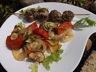 Brochettes de boeuf au pesto et légumes de saison confits