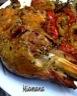 Cuisse de dinde rôtie au miel,soja et moutarde sur lit de tomates
