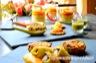 Royale de moules, crémeux de carottes d'Anne Sophie Pic - Pumpkin and walnut bread facon crakers - Feuillete tapenade-surimi- veloute pois casses - Bouchées miettes de poissons
