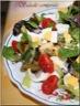 Salade composée du jeudi (oeufs durs, haricots verts, salades variées, tomate et oignon rouge)