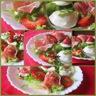 Salade fraîcheur jambon cru, mozzarella et fraises / Salade de melon et sa vinaigrette chaude au Porto