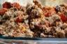 Gratin d'aubergines aux pois chiches, tomates et noix du brésil