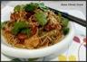 Nouilles sautées aux crevettes, soja, poivron et courgette