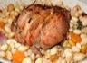 Canard rôti aux haricots blancs avec foie gras poêlé