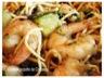 Crevettes sautees au gingembre, coriandre et courgettes