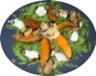 Légumes: Demi lunes de potiron sur salade de roquette