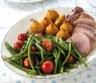 Plat principal: Filet de porc sauce moutarde haricots verts à la tombée de tomate et croquettes