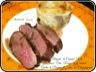 Magret de canard rôti, sauce vin rouge et echalotes, gratin pommes de terre aux champignons
