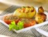 Plats de volailles: Pilons de poulet marinés et pommes de terre farcies
