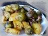 Poelée de saucisses, - choux de bruxelle , pommes de terre et lardons