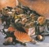 Risotto de coquilles saint-jacques au jus de truffes et laitue de mer