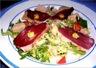 Entrées: Salade au magret et au foie gras de canard
