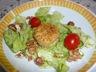 Salade chevre chaud, noix et noisettes