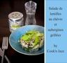 Salade de lentilles au chèvre et aubergines grillées