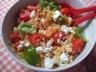 Salade de lentilles corail, tomates, féta