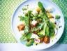 Salade de mesclun au veau fèves et champignons
