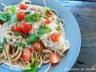 Spaghettis multigrains, poulet grillé et sauce crémeuse au pesto