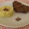 Agneau en croûte de pistache et sa purée de pommes de terre à la graisse d'oie