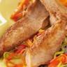 Aiguillettes de canard rôties sur fondue de légumes