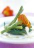 Asperges vertes et épinards avec jambon de Parme grillé
