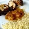 Blancs de poulet farcis aux dattes sauce à l'orange et à l'abricot