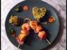 Brochette de Saint-Jacques au lard papillote de légumes à la crème