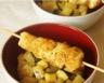 Brochettes de poulet au curry et poêlée de courgette et ananas