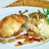 Caille farcie au Foie Gras de Canard rôtie aux airelles risotto aux pleurotes