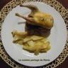 Cailles roties poires et toast de roquefort société