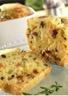 Cake au cabécou du Périgord olives noires et tomates séchée