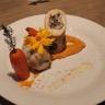 Cannelloni de poulet aux champignons sauce suprême purée de patate douce et carottes glacées
