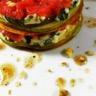 Carpaccio de boeuf au gingembre roquefort et poire en mille-feuille
